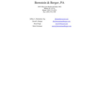 Bernstein & Berger - Attorneys in Miami, Florida (FL)